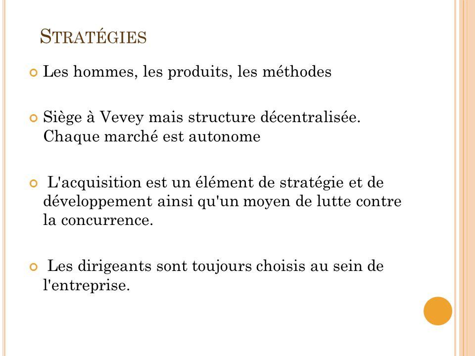 S TRATÉGIES Les hommes, les produits, les méthodes Siège à Vevey mais structure décentralisée. Chaque marché est autonome L'acquisition est un élément