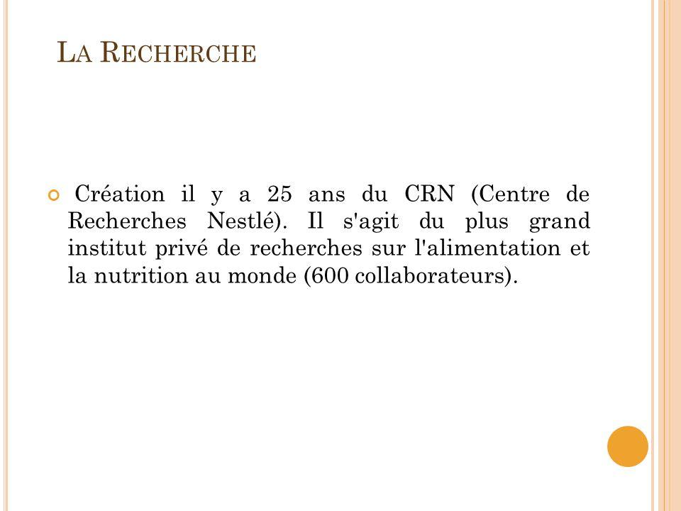 L A R ECHERCHE Création il y a 25 ans du CRN (Centre de Recherches Nestlé). Il s'agit du plus grand institut privé de recherches sur l'alimentation et