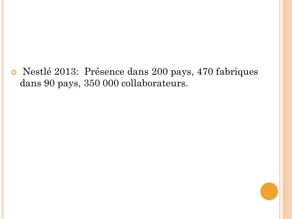 Nestlé 2013: Présence dans 200 pays, 470 fabriques dans 90 pays, 350 000 collaborateurs.