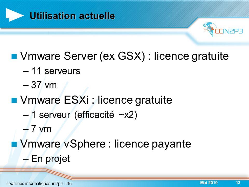Utilisation actuelle Vmware Server (ex GSX) : licence gratuite –11 serveurs –37 vm Vmware ESXi : licence gratuite –1 serveur (efficacité ~x2) –7 vm Vmware vSphere : licence payante –En projet Mai 201013 Journées informatiques in2p3 - irfu