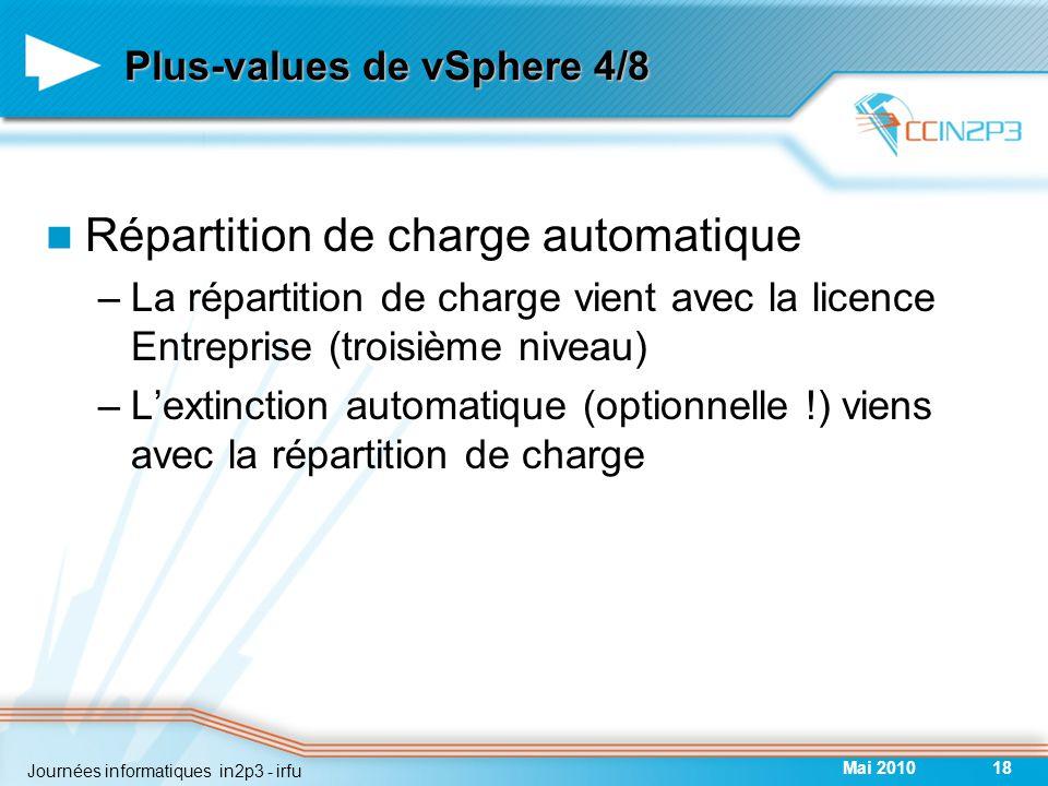 Plus-values de vSphere 4/8 Répartition de charge automatique –La répartition de charge vient avec la licence Entreprise (troisième niveau) –L'extinction automatique (optionnelle !) viens avec la répartition de charge Mai 201018 Journées informatiques in2p3 - irfu