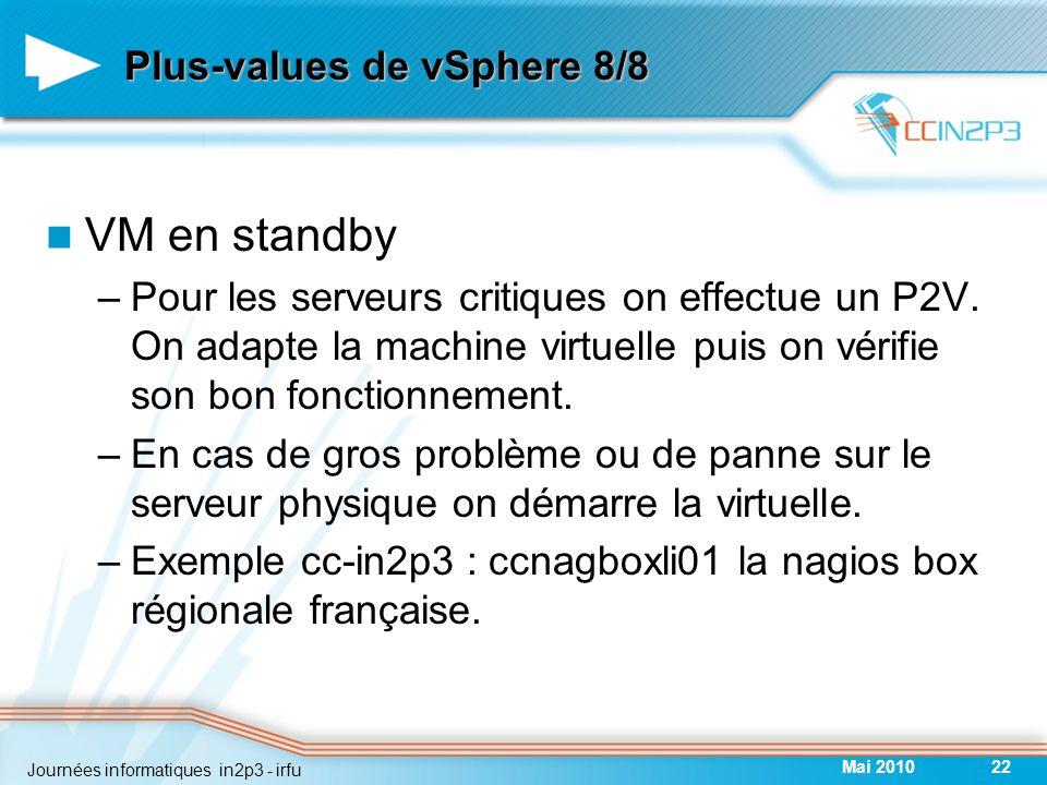 Plus-values de vSphere 8/8 VM en standby –Pour les serveurs critiques on effectue un P2V.