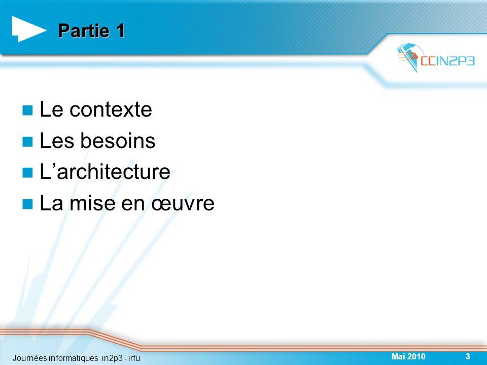 Partie 1 Le contexte Les besoins L'architecture La mise en œuvre Mai 20103 Journées informatiques in2p3 - irfu