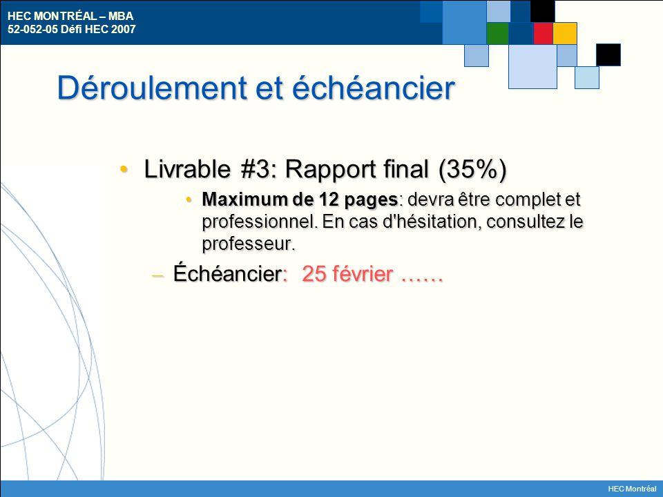 HEC MONTRÉAL – MBA 52-052-05 Défi HEC 2007 HEC Montréal Déroulement et échéancier Livrable #3: Rapport final (35%)Livrable #3: Rapport final (35%) Max