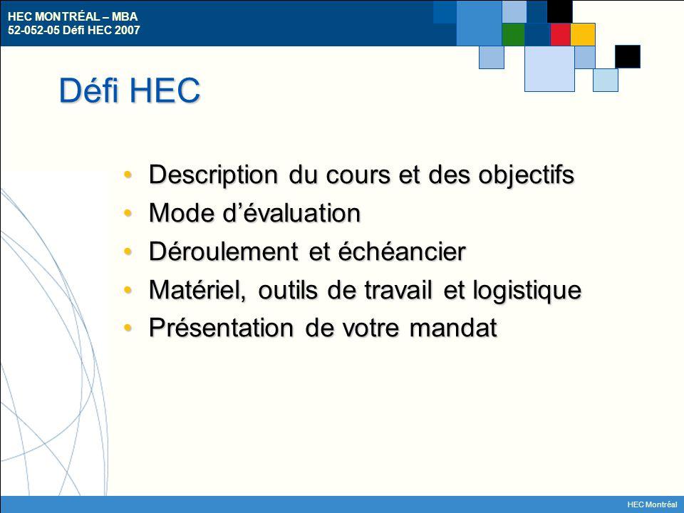 HEC MONTRÉAL – MBA 52-052-05 Défi HEC 2007 HEC Montréal Description du cours Étude de cas « en temps réel »Étude de cas « en temps réel » – Cours intégrateur Votre rôle: consultant externeVotre rôle: consultant externe – Cerner, analyser et documenter le défi (ou la problématique) auquel l'entreprise est confrontée.