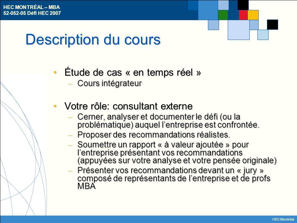 HEC MONTRÉAL – MBA 52-052-05 Défi HEC 2007 HEC Montréal Description du cours L'équipe gagnante…L'équipe gagnante… – présentera les résultats de son analyse et ses recommandations au comité de direction de l'entreprise, si possible – … et se partagera une bourse symbolique de 500$ et….
