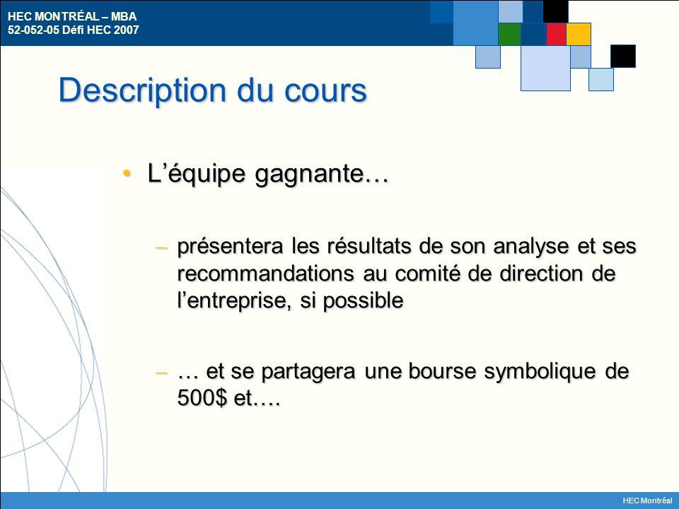 HEC MONTRÉAL – MBA 52-052-05 Défi HEC 2007 HEC Montréal Les entreprises participantes – A01: Rogers Sans Fil Inc.