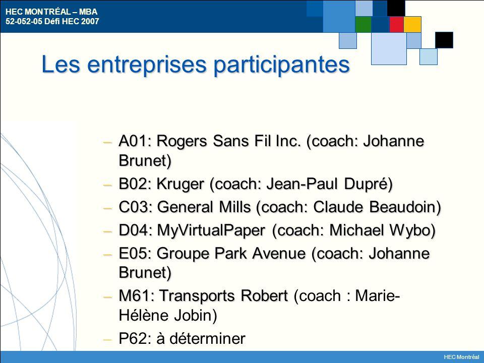 HEC MONTRÉAL – MBA 52-052-05 Défi HEC 2007 HEC Montréal Les entreprises participantes – A01: Rogers Sans Fil Inc. (coach: Johanne Brunet) – B02: Kruge
