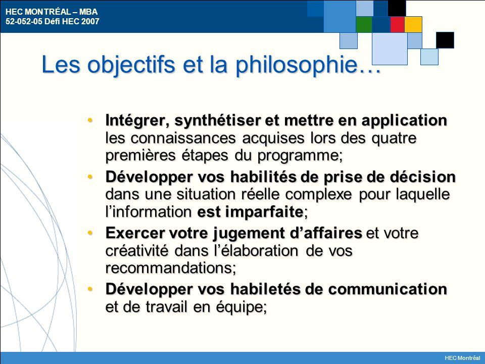 HEC MONTRÉAL – MBA 52-052-05 Défi HEC 2007 HEC Montréal Les objectifs et la philosophie… Intégrer, synthétiser et mettre en application les connaissances acquises lors des quatre premières étapes du programme;Intégrer, synthétiser et mettre en application les connaissances acquises lors des quatre premières étapes du programme; Développer vos habilités de prise de décision dans une situation réelle complexe pour laquelle l'information est imparfaite;Développer vos habilités de prise de décision dans une situation réelle complexe pour laquelle l'information est imparfaite; Exercer votre jugement d'affaires et votre créativité dans l'élaboration de vos recommandations;Exercer votre jugement d'affaires et votre créativité dans l'élaboration de vos recommandations; Développer vos habiletés de communication et de travail en équipe;Développer vos habiletés de communication et de travail en équipe;