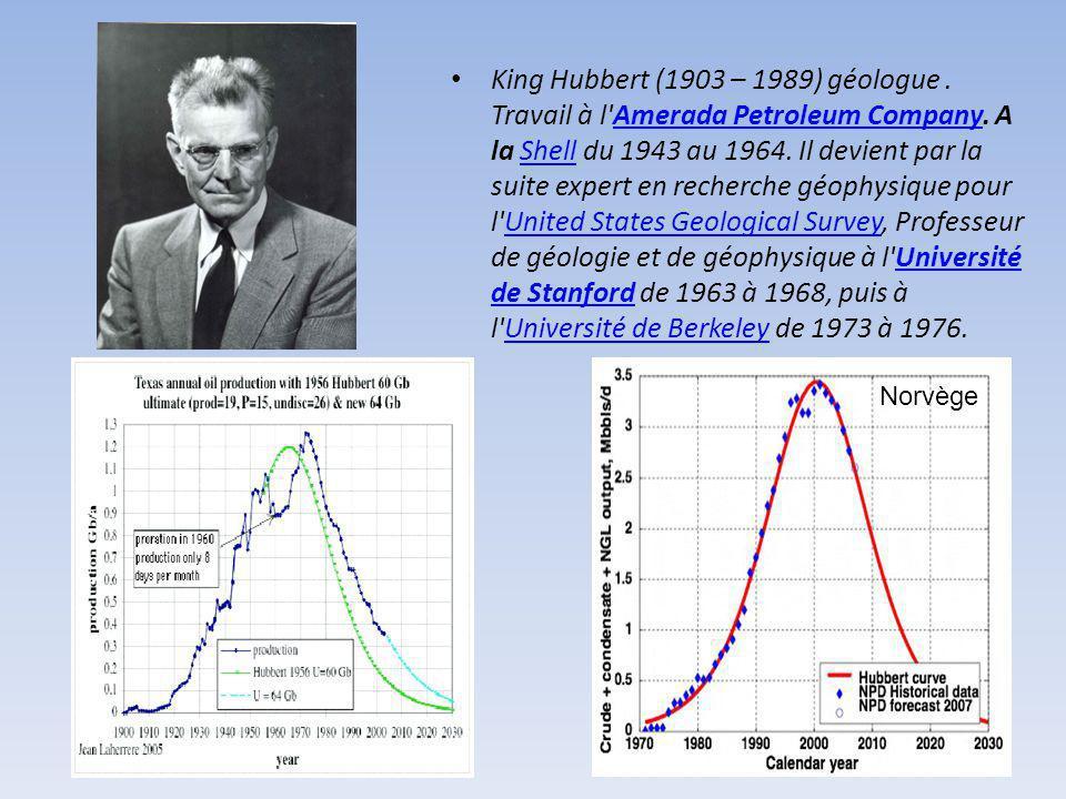 King Hubbert (1903 – 1989) géologue. Travail à l'Amerada Petroleum Company. A la Shell du 1943 au 1964. Il devient par la suite expert en recherche gé