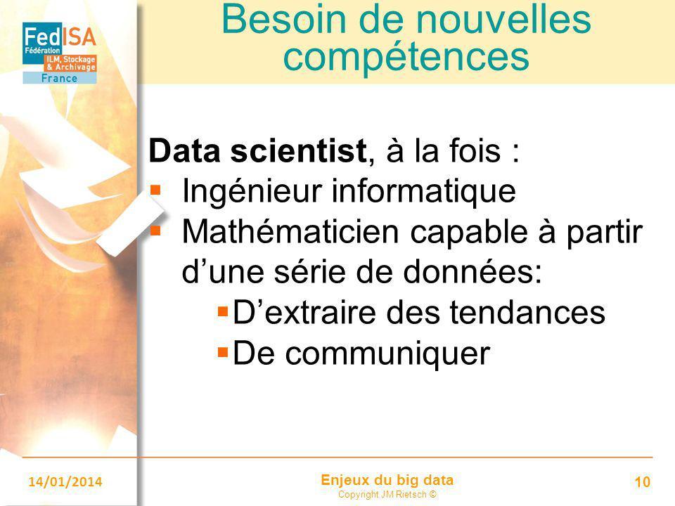 Enjeux du big data Copyright JM Rietsch © 14/01/2014 10 Besoin de nouvelles compétences Data scientist, à la fois :  Ingénieur informatique  Mathéma