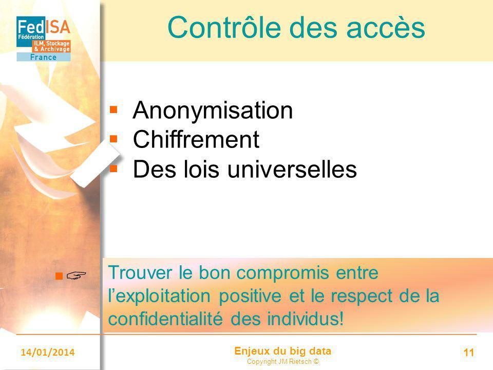 Enjeux du big data Copyright JM Rietsch © 14/01/2014 11 Contrôle des accès  Anonymisation  Chiffrement  Des lois universelles  Trouver le bon c