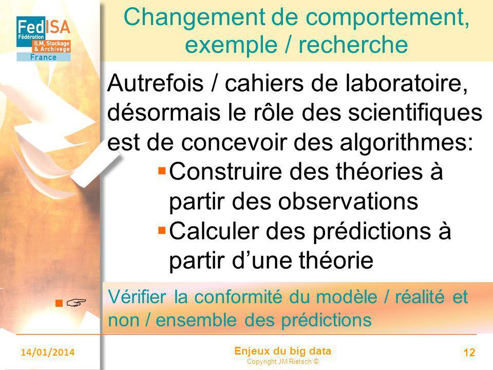 Enjeux du big data Copyright JM Rietsch © 14/01/2014 12 Changement de comportement, exemple / recherche Autrefois / cahiers de laboratoire, désormais