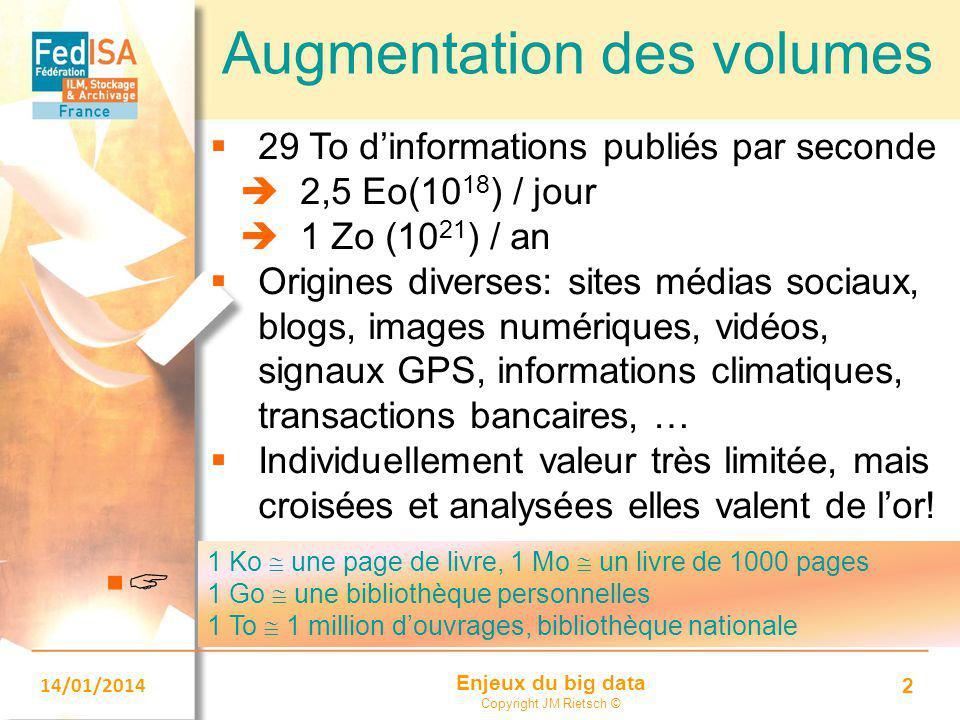 Enjeux du big data Copyright JM Rietsch © 14/01/2014 2 Augmentation des volumes  29 To d'informations publiés par seconde  2,5 Eo(10 18 ) / jour  1