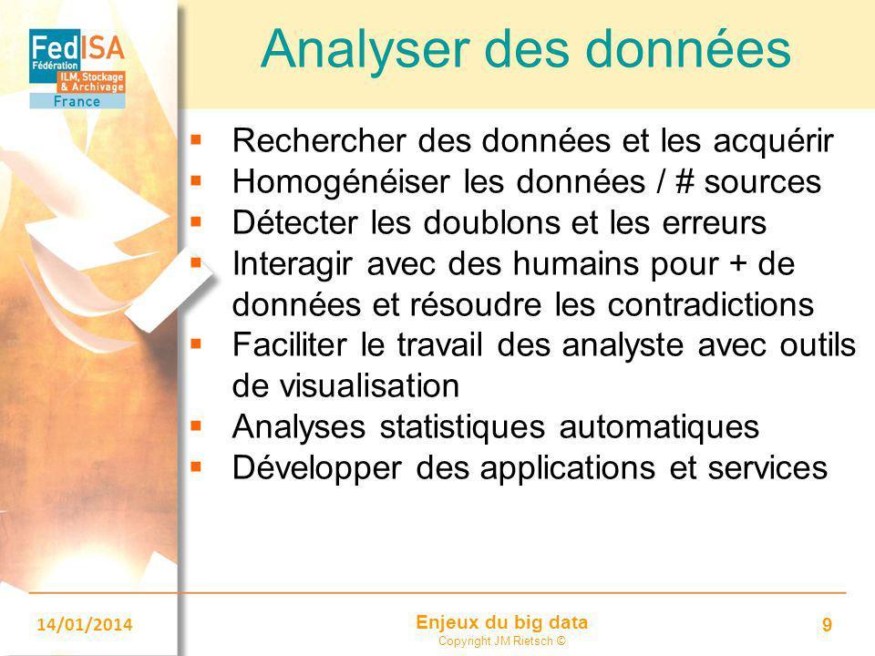 Enjeux du big data Copyright JM Rietsch © 14/01/2014 9 Analyser des données  Rechercher des données et les acquérir  Homogénéiser les données / # so