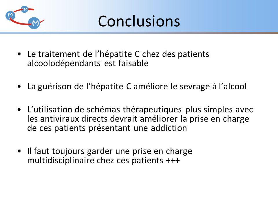 Conclusions Le traitement de l'hépatite C chez des patients alcoolodépendants est faisable La guérison de l'hépatite C améliore le sevrage à l'alcool