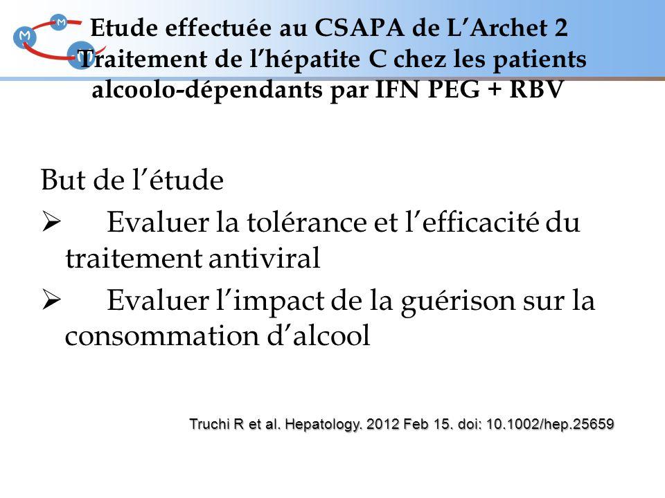 Etude effectuée au CSAPA de L'Archet 2 Traitement de l'hépatite C chez les patients alcoolo-dépendants par IFN PEG + RBV But de l'étude  Evaluer la t