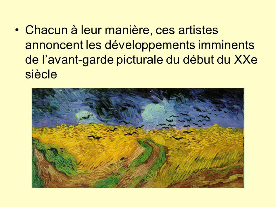 Chacun à leur manière, ces artistes annoncent les développements imminents de l'avant-garde picturale du début du XXe siècle