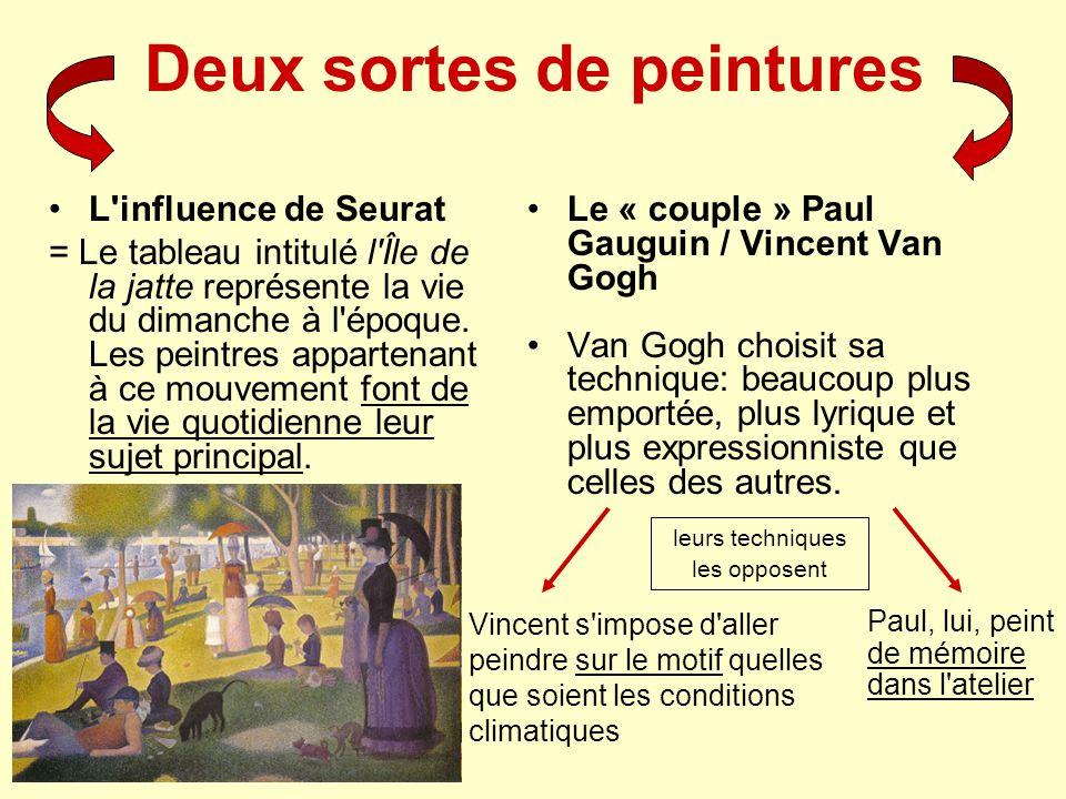 Deux sortes de peintures L'influence de Seurat = Le tableau intitulé l'Île de la jatte représente la vie du dimanche à l'époque. Les peintres apparten