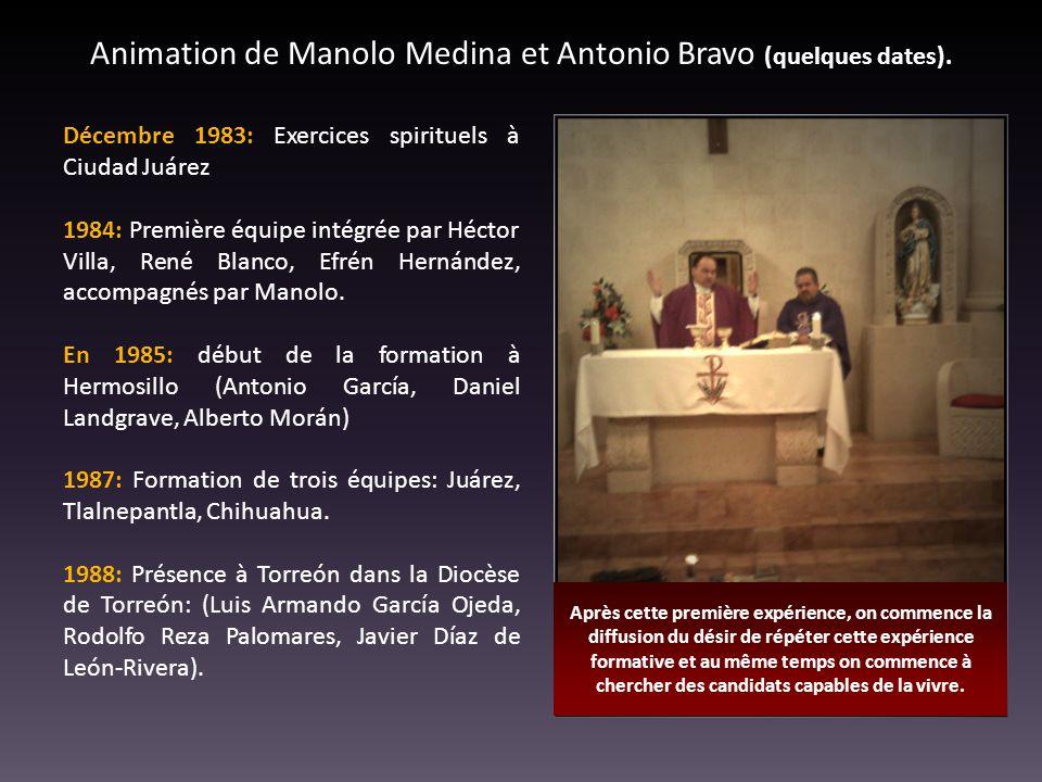 Animation de Manolo Medina et Antonio Bravo (quelques dates). Décembre 1983: Exercices spirituels à Ciudad Juárez 1984: Première équipe intégrée par H
