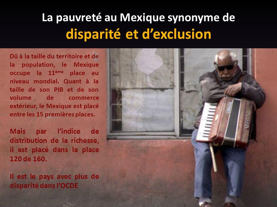 La pauvreté au Mexique synonyme de disparité et d'exclusion Dû à la taille du territoire et de la population, le Mexique occupe la 11 ème place au niveau mondial.