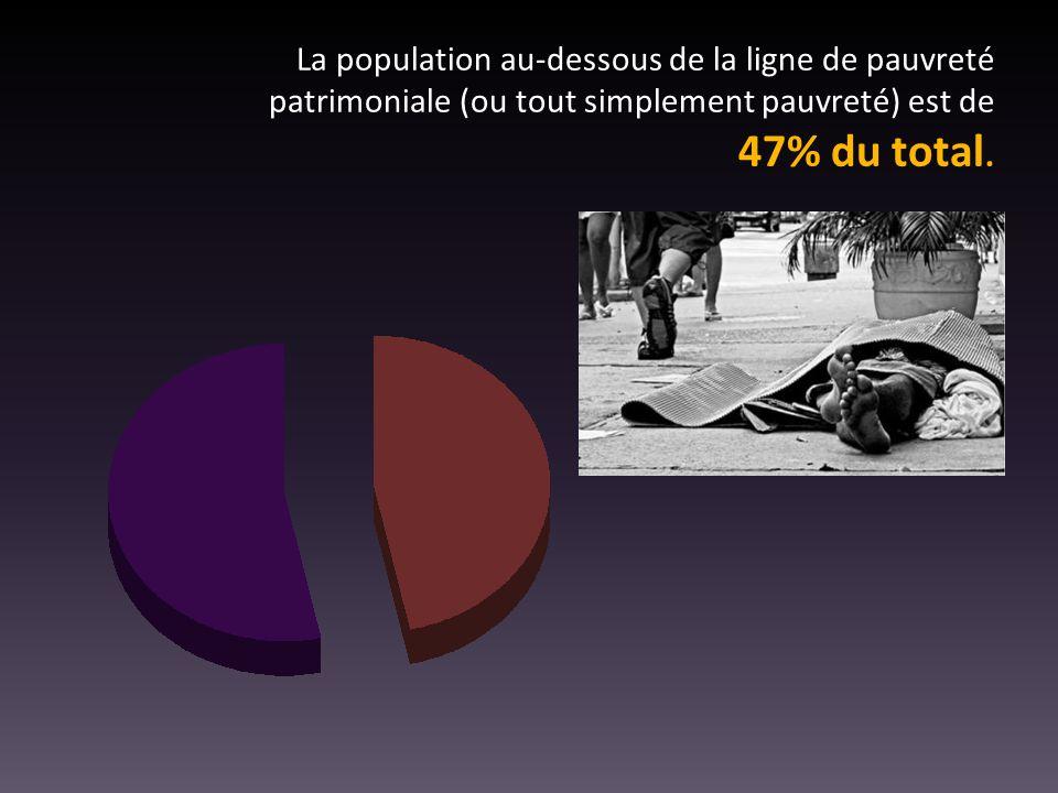 La population au-dessous de la ligne de pauvreté patrimoniale (ou tout simplement pauvreté) est de 47% du total.