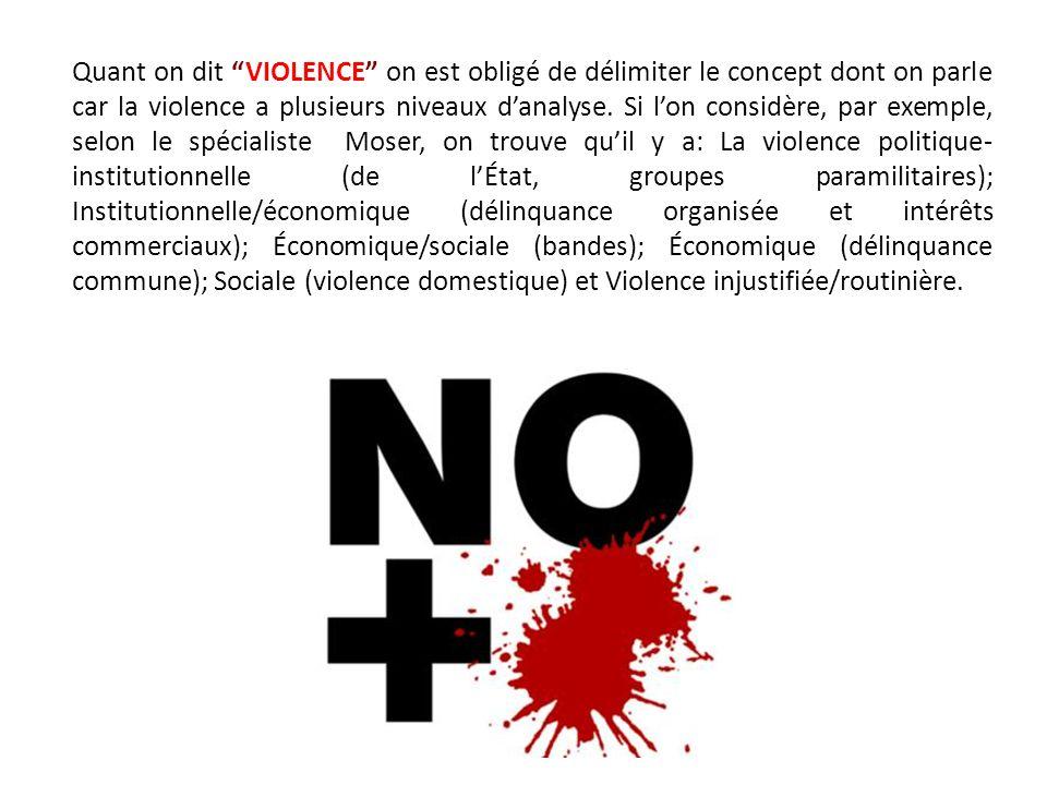 Quant on dit VIOLENCE on est obligé de délimiter le concept dont on parle car la violence a plusieurs niveaux d'analyse.