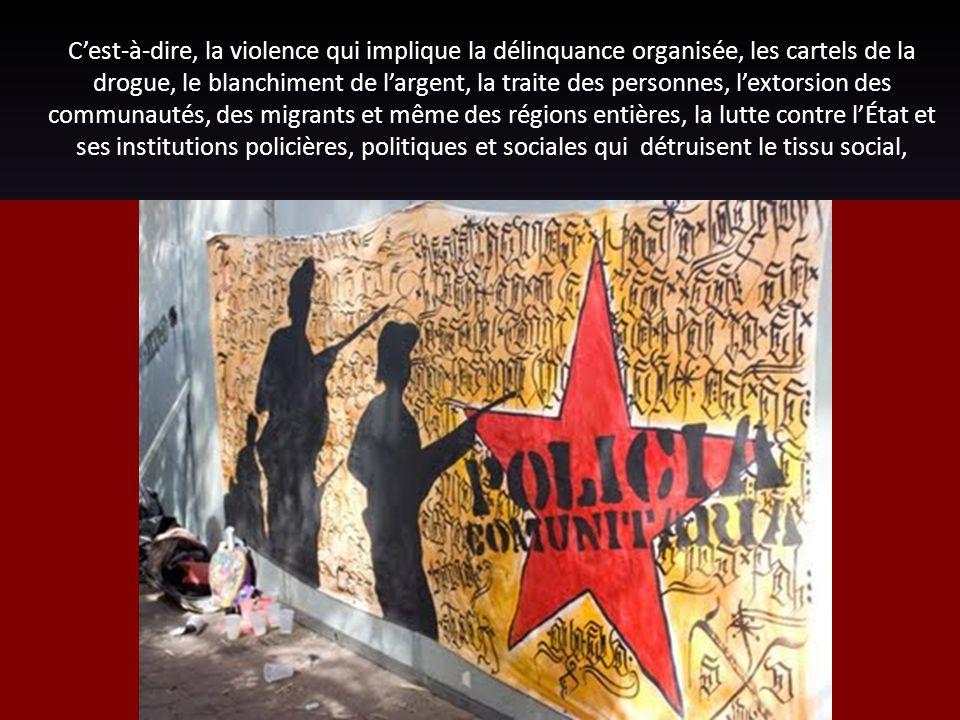C'est-à-dire, la violence qui implique la délinquance organisée, les cartels de la drogue, le blanchiment de l'argent, la traite des personnes, l'extorsion des communautés, des migrants et même des régions entières, la lutte contre l'État et ses institutions policières, politiques et sociales qui détruisent le tissu social,
