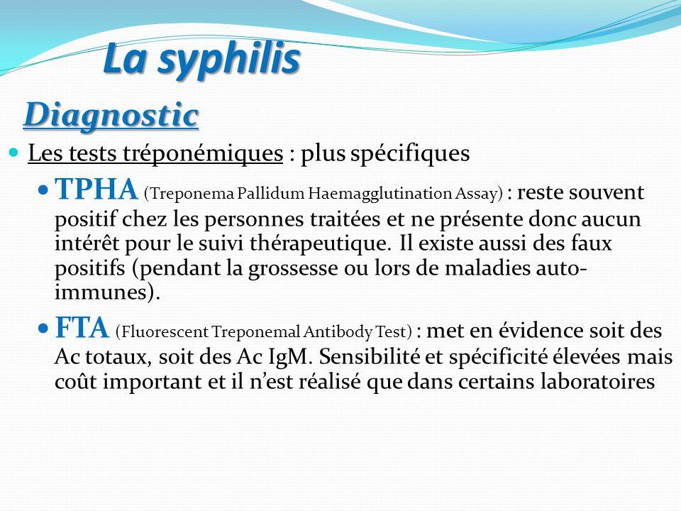 Diagnostic Diagnostic Les tests tréponémiques : plus spécifiques TPHA (Treponema Pallidum Haemagglutination Assay) : reste souvent positif chez les personnes traitées et ne présente donc aucun intérêt pour le suivi thérapeutique.