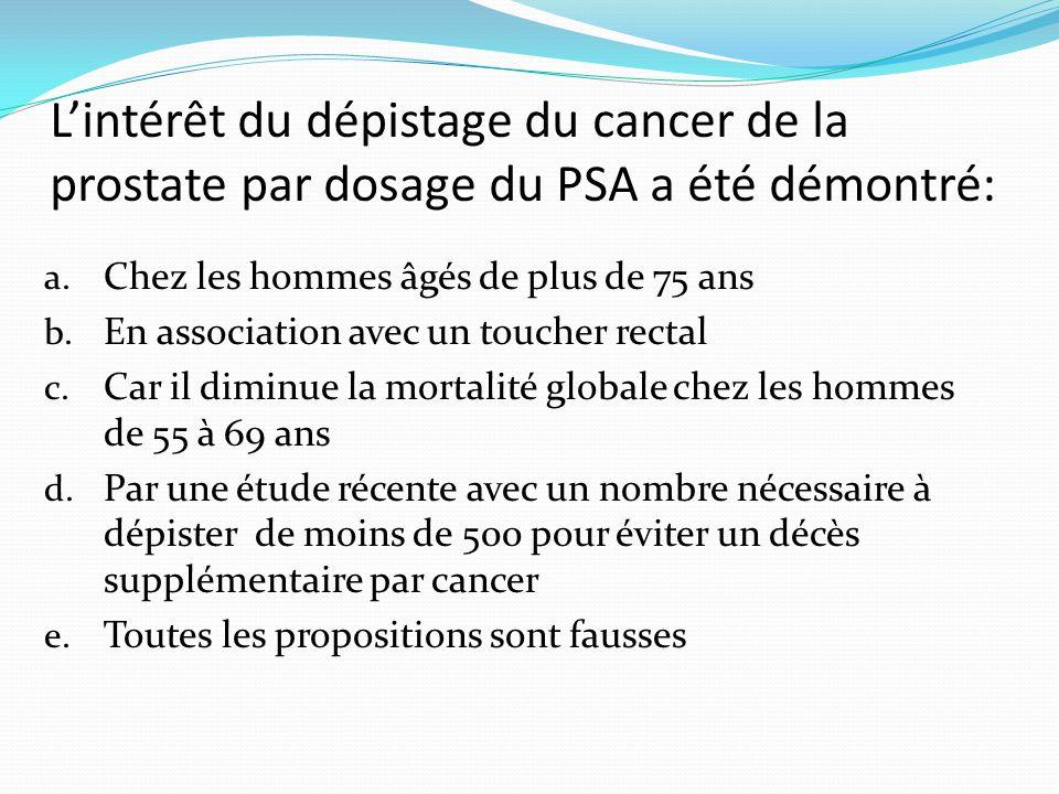 L'intérêt du dépistage du cancer de la prostate par dosage du PSA a été démontré: a.