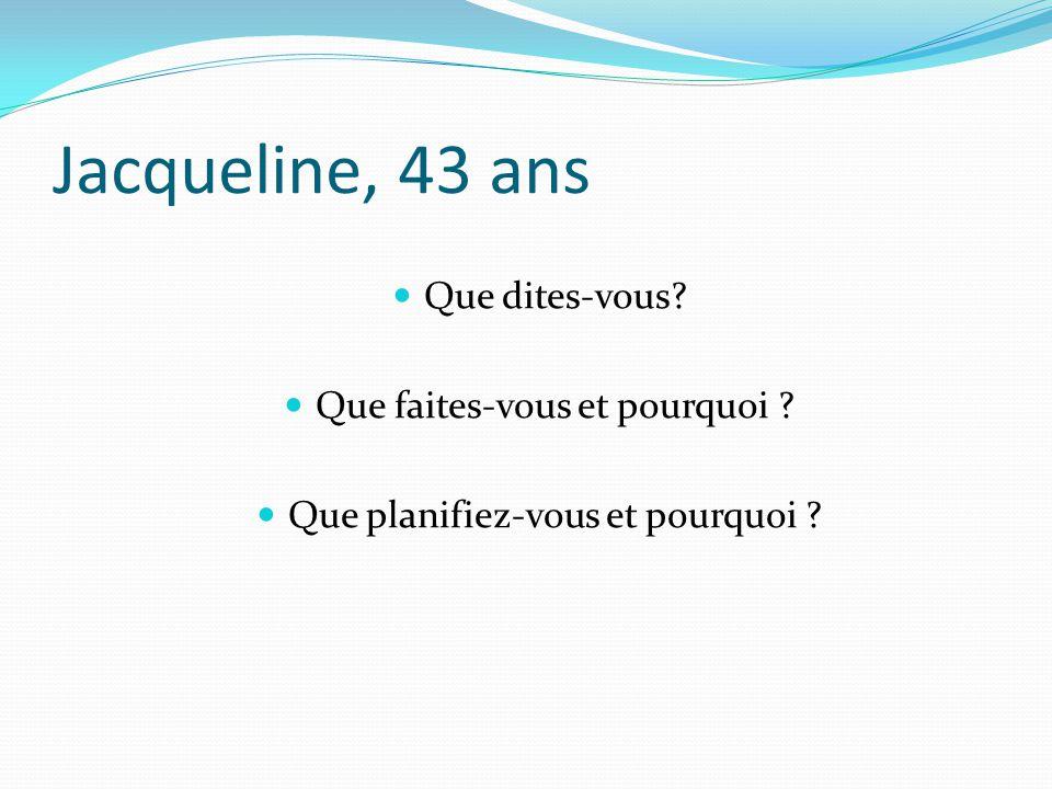 Jacqueline, 43 ans Que dites-vous? Que faites-vous et pourquoi ? Que planifiez-vous et pourquoi ?