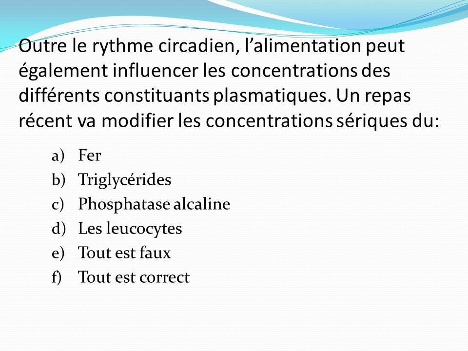 Outre le rythme circadien, l'alimentation peut également influencer les concentrations des différents constituants plasmatiques.