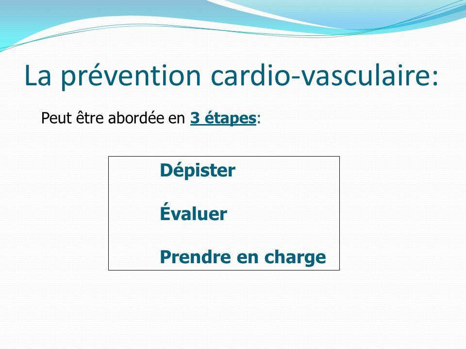 Peut être abordée en 3 étapes: La prévention cardio-vasculaire: Dépister Évaluer Prendre en charge