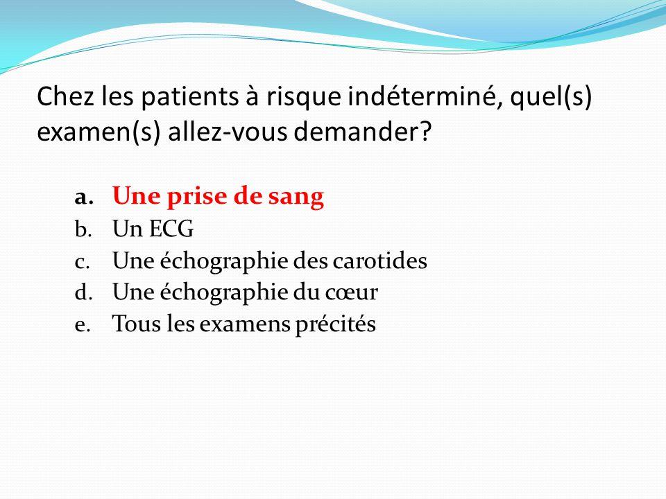 Chez les patients à risque indéterminé, quel(s) examen(s) allez-vous demander.
