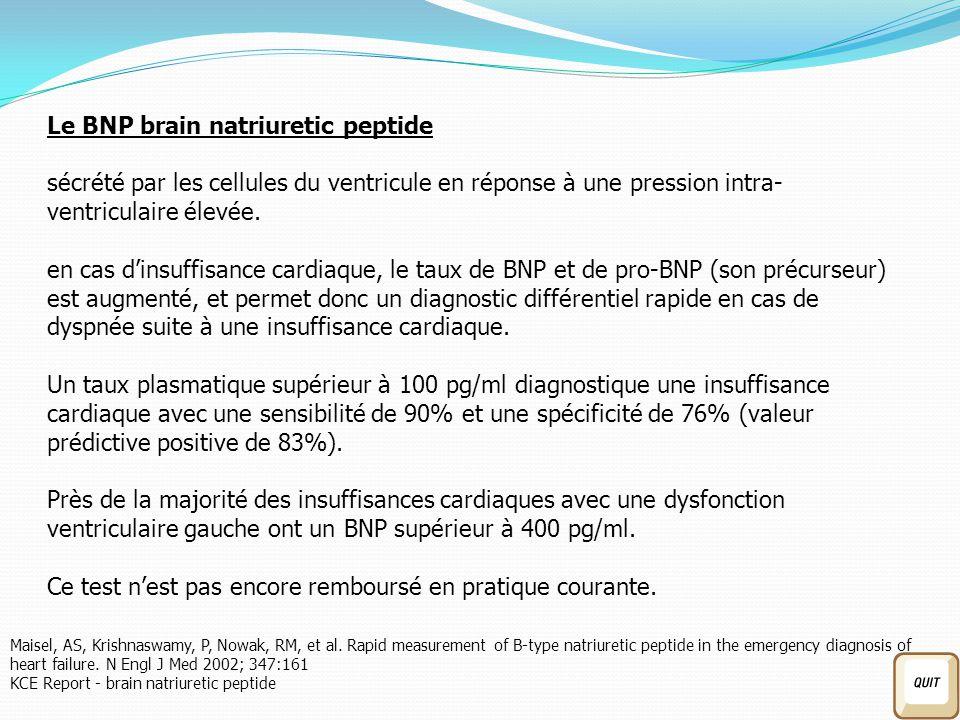 Le BNP brain natriuretic peptide sécrété par les cellules du ventricule en réponse à une pression intra- ventriculaire élevée.