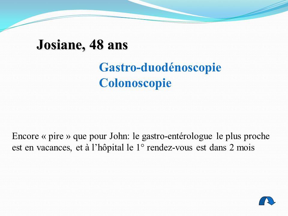 Gastro-duodénoscopie Colonoscopie Josiane, 48 ans Encore « pire » que pour John: le gastro-entérologue le plus proche est en vacances, et à l'hôpital le 1° rendez-vous est dans 2 mois