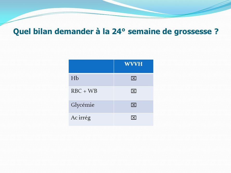 Quel bilan demander à la 24° semaine de grossesse ? WVVH Hb  RBC + WB  Glycémie  Ac irrég 