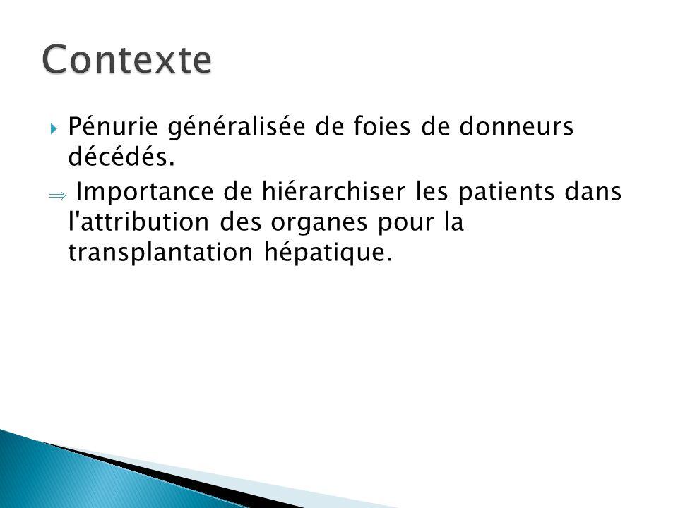  Pénurie généralisée de foies de donneurs décédés.  Importance de hiérarchiser les patients dans l'attribution des organes pour la transplantation h