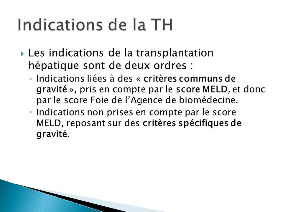 Les indications de la transplantation hépatique sont de deux ordres : ◦ Indications liées à des « critères communs de gravité », pris en compte par