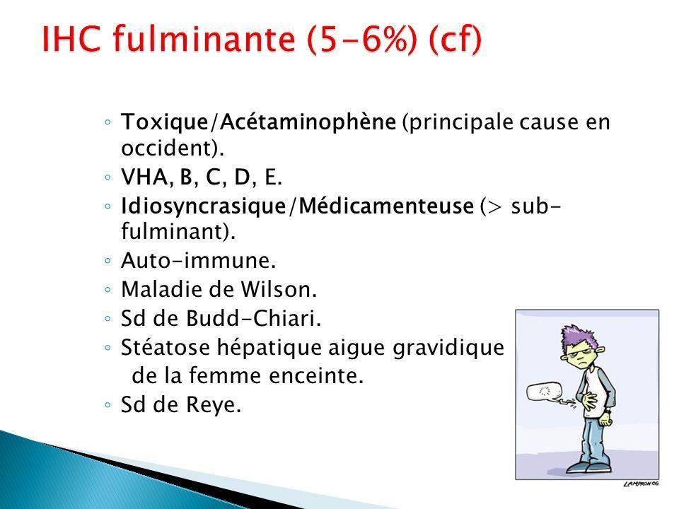 ◦ Toxique/Acétaminophène (principale cause en occident). ◦ VHA, B, C, D, E. ◦ Idiosyncrasique/Médicamenteuse (> sub- fulminant). ◦ Auto-immune. ◦ Mala