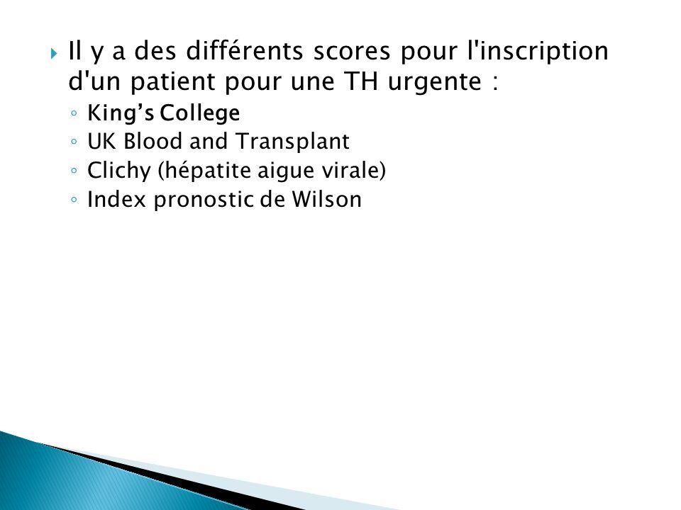 Il y a des différents scores pour l'inscription d'un patient pour une TH urgente : ◦ King's College ◦ UK Blood and Transplant ◦ Clichy (hépatite aig