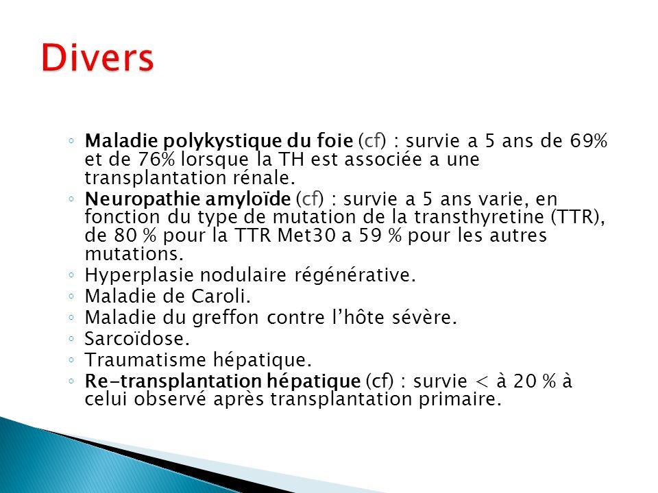 ◦ Maladie polykystique du foie (cf) : survie a 5 ans de 69% et de 76% lorsque la TH est associée a une transplantation rénale. ◦ Neuropathie amyloïde