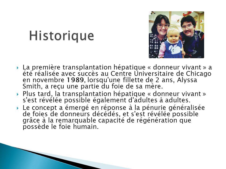  La première transplantation hépatique « donneur vivant » a été réalisée avec succès au Centre Universitaire de Chicago en novembre 1989, lorsqu'une