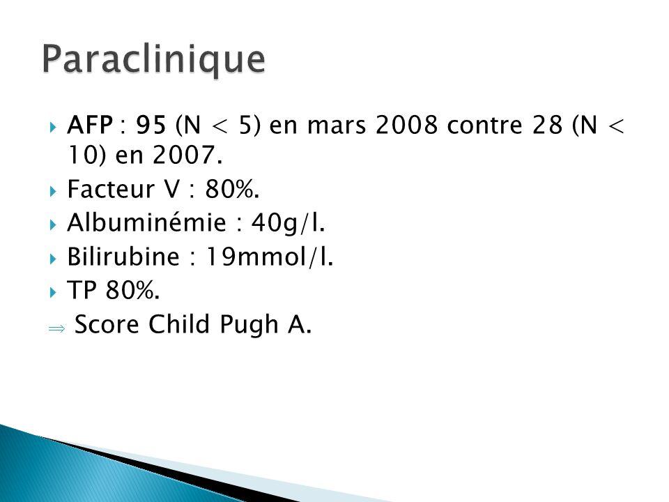  AFP : 95 (N < 5) en mars 2008 contre 28 (N < 10) en 2007.  Facteur V : 80%.  Albuminémie : 40g/l.  Bilirubine : 19mmol/l.  TP 80%.  Score Child