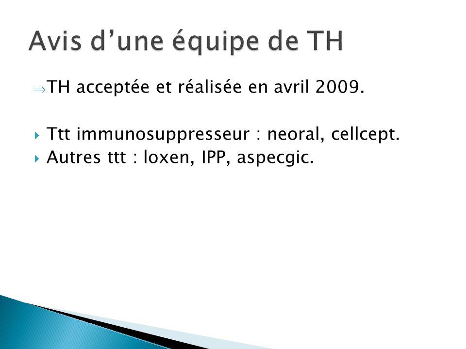  TH acceptée et réalisée en avril 2009.  Ttt immunosuppresseur : neoral, cellcept.  Autres ttt : loxen, IPP, aspecgic.