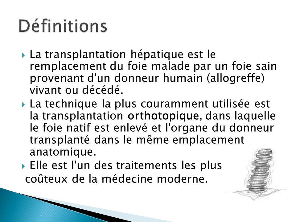  La transplantation hépatique est le remplacement du foie malade par un foie sain provenant d'un donneur humain (allogreffe) vivant ou décédé.  La t