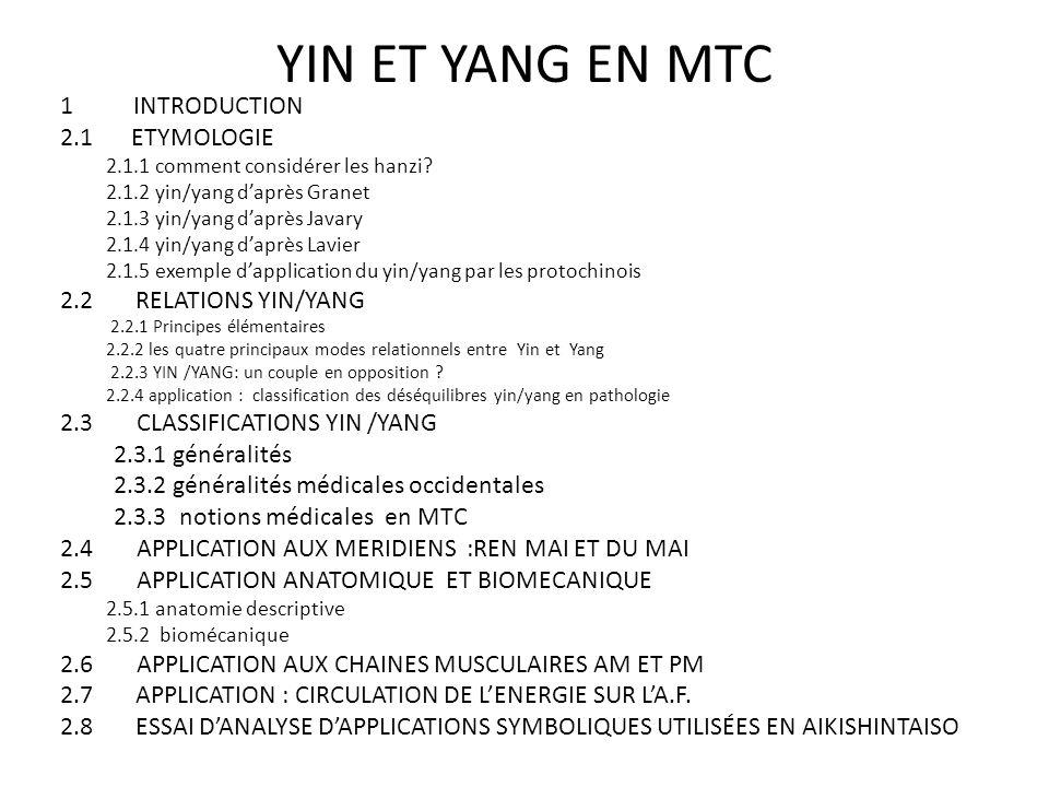 YIN ET YANG EN MTC 1 INTRODUCTION 2.1 ETYMOLOGIE 2.1.1 comment considérer les hanzi? 2.1.2 yin/yang d'après Granet 2.1.3 yin/yang d'après Javary 2.1.4