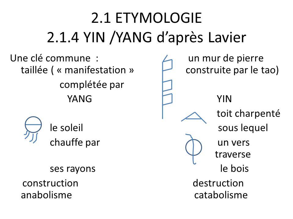 2.1 ETYMOLOGIE 2.1.4 YIN /YANG d'après Lavier Une clé commune : un mur de pierre taillée ( « manifestation » construite par le tao) complétée par YANG