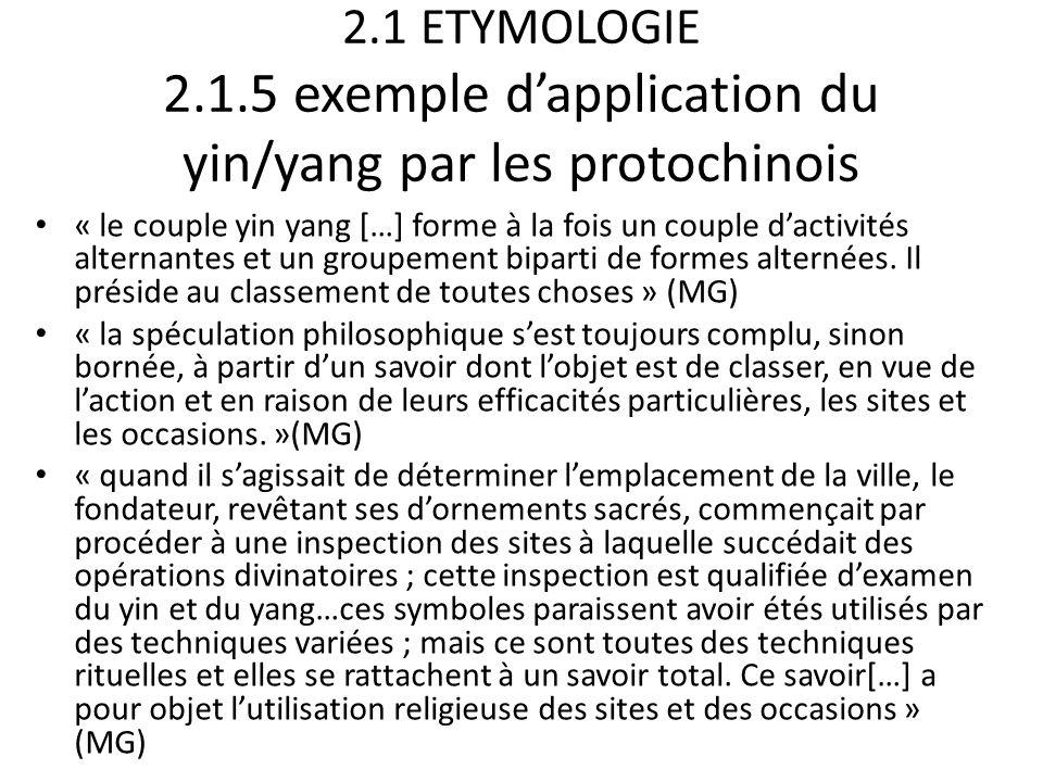 2.1 ETYMOLOGIE 2.1.5 exemple d'application du yin/yang par les protochinois « le couple yin yang […] forme à la fois un couple d'activités alternantes