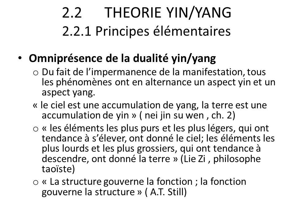 2.2 THEORIE YIN/YANG 2.2.1 Principes élémentaires Omniprésence de la dualité yin/yang o Du fait de l'impermanence de la manifestation, tous les phénom